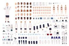 Weiblicher Wissenschaftlererbauer oder wissenschaftliche Ausrüstung des Labor DIY Sammlung Frauenkörperteile, Gesichtsausdrücke stock abbildung