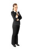 Weiblicher Zeigefinger des freundlichen Geschäfts an Ihnen Stockbilder