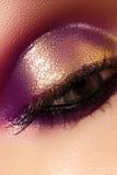 Weibliches Auge der Nahaufnahme mit hellem Make-up der schönen Mode Schönes glänzendes Gold, purpurroter Lidschatten, machte Funk Stockfotos