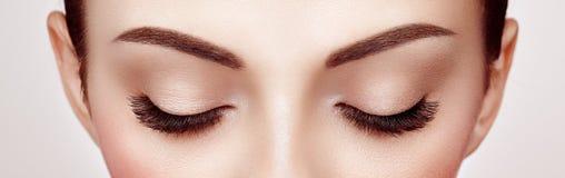 Weibliches Auge mit den langen falschen Wimpern stockbild