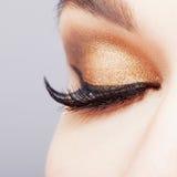 Weibliches Auge mit den langen Wimpern Lizenzfreie Stockfotos