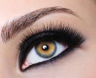 Weibliches Auge mit den schwarzen langen Wimpern Lizenzfreie Stockbilder