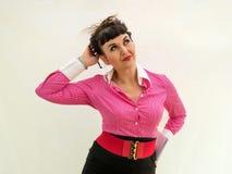 Weibliches Büroangestelltdenken Stockfotos