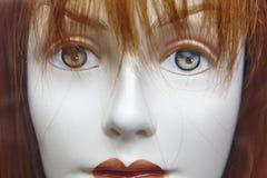 Weibliches blindes Hauptdetail Künstliche Frau Nachahmung des Lebens Stockbild