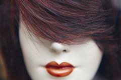 Weibliches blindes Hauptdetail Künstliche Frau Nachahmung des Lebens Stockfoto