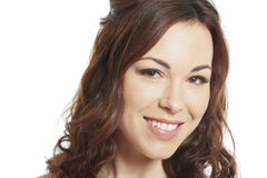 Weibliches Brunettebraut-Porträtlächeln Stockfotos