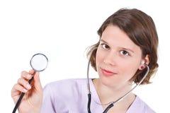 Weibliches Doktorholdingstethoskop Stockbilder