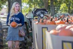 Weibliches Einkaufen für Halloween-Kürbis Stockfotos