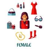 Weibliches Einkaufsflache Ikonen Stockfotografie