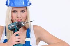 Weibliches Erbauerholdingbohrgerät Lizenzfreie Stockbilder