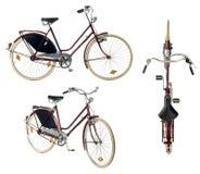 Weibliches Fahrrad des Retrostils lokalisiert auf einem weißen Hintergrund Lizenzfreies Stockbild