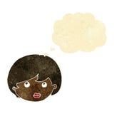 weibliches Gesicht der Karikatur, das aufwärts mit Gedankenblase schaut Lizenzfreie Stockfotos