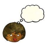 weibliches Gesicht der Karikatur, das aufwärts mit Gedankenblase schaut Stockfotos