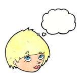 weibliches Gesicht der Karikatur, das oben mit Gedankenblase schaut Lizenzfreie Stockfotografie