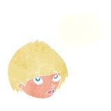 weibliches Gesicht der Karikatur, das oben mit Gedankenblase schaut Stockbild