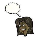 weibliches Gesicht der Karikatur mit Gedankenblase Stockbild