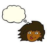 weibliches Gesicht der Karikatur mit Gedankenblase Stockfotografie