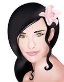 Weibliches Gesicht mit Blume lizenzfreie abbildung