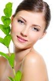 Weibliches Gesicht mit einer sauberen gesunden Haut Stockfoto
