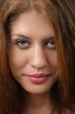 Weibliches Gesicht nah oben einzeln aufgeführt Stockbild