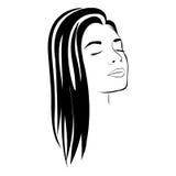 weibliches Gesichtsschattenbild der Skizze mit Langhaarfrisur Lizenzfreie Stockfotos