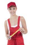 Weibliches handworker mit Bandmaß Stockbild