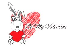 Weibliches Kaninchen mit rotem Herzen stock abbildung
