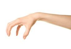 Weibliches kaukasisches Handzeichen lokalisiert Stockfotos