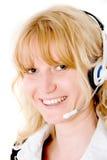 Weibliches Kundendienstrepräsentantenlächeln lizenzfreies stockfoto