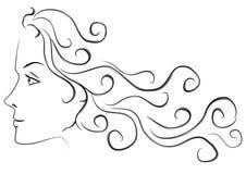 Weibliches langes Haar-Hauptprofil Lizenzfreie Stockfotografie