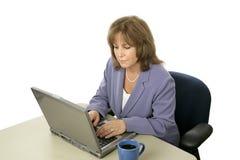 Weibliches Leitprogramm auf Computer Stockbild