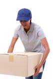 Weibliches Lieferungspersonal, das schweren Kartonkasten trägt Stockbilder