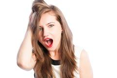 Weibliches Modell überrascht, überrascht und erstaunt Lizenzfreies Stockbild