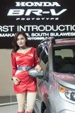 Weibliches Modell auf Automobilshow Lizenzfreie Stockbilder