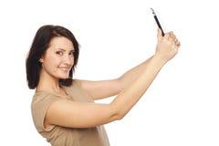 Weibliches nehmendes selfie mit digitaler Tablette Lizenzfreies Stockfoto