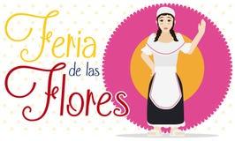 Weibliches Paisa über Blume für kolumbianische Blumen-Festival-Feier, Vektor-Illustration Stockfotos