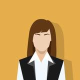 Weibliches Porträt der Geschäftsfrauprofil-Ikone flach Stockfoto