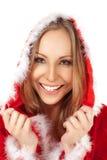 Weibliches Porträtweihnachtskostüm Stockbild