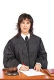 Weibliches Richterzeichen, Gerichtsbefehl abzudecken Lizenzfreie Stockbilder