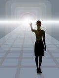 Weibliches Schattenbild auf dem techno Hintergrund Stockbilder