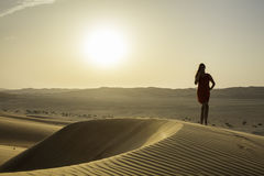 Weibliches Schattenbild in der Wüste Stockfotografie