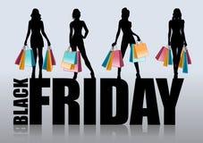 Weibliches Schattenbild mit Einkaufstaschen Stockfoto