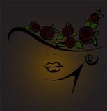 Weibliches Schattenbild mit schwarzen Rosen Stockbild