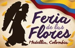 Weibliches Silletero, kolumbianische Flagge und Blumenblätter für Blumen Festival, Vektor-Illustration Stockbilder