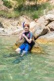 Weibliches snorkeler Stockfotografie