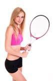 Weibliches Tennis-Spieler-Portrait Lizenzfreie Stockfotos