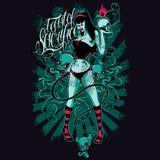 Weibliches Teufel-Hemd-Design lizenzfreie abbildung