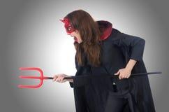 Weibliches tragendes Teufelkostüm Lizenzfreies Stockbild