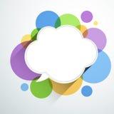 Weißbuchwolke über Farbblasen Lizenzfreies Stockbild