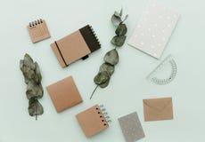 Weich angeredete Schreibtisch-Pastellszenen mit verschiedenen Notizbüchern, Grün verlässt und Versorgungen stockfotos